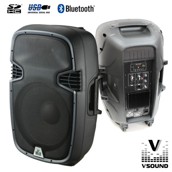 "Coluna Amplificada 15"" 600W USB/SD/Bluetooth VSOUND - (VSSE15BT)"