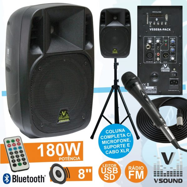 "Coluna Amplificada 8"" 180W USB/BT/FM Suporte/Micro VSOUND - (VSSE8CT-PACK)"