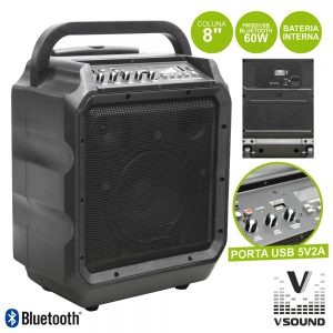 "Coluna Amplificada 8"" 60W USB/SD/Bat  VSOUND - (VSSE8KA)"