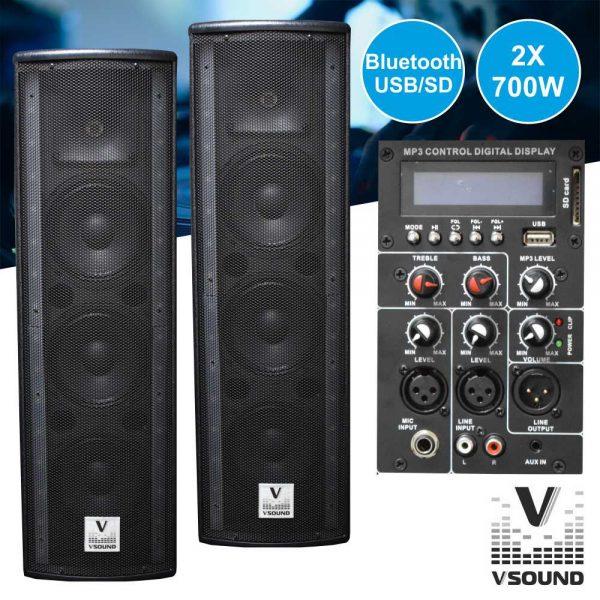 "Colunas Ativa+Passiva 3x6.5"" 2x700W Suporte e Cabo VSOUND - (VSSG65A)"