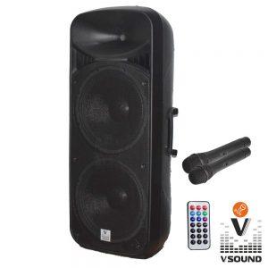 "Coluna Amplificada 2x15"" USB/FM/BT/SD/BAT MIC VSOUND - (VSSP215)"
