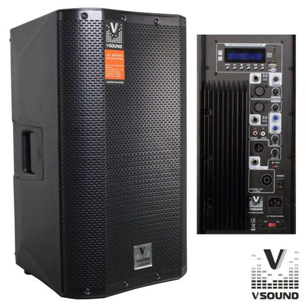 "Coluna Bi-Amplificada PRO 12"" USB/SD/FM/BT 500W VSOUND - (VSSPRO12APUSB)"