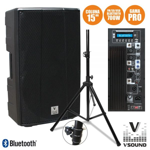 "Coluna Amplificada PRO 15"" USB/SD/FM/BT 700W Suporte VSOUND - (VSSPRO15APUSB-PACK)"