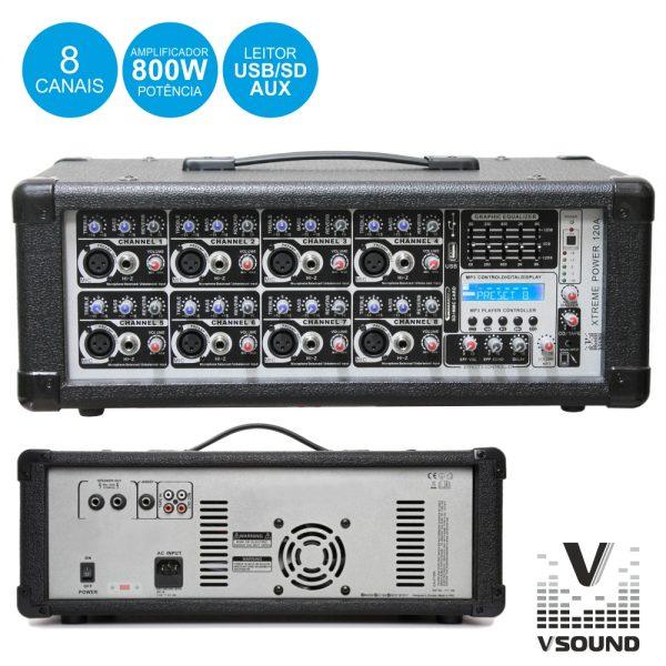 Amplificador Áudio Profissional 8 Canais 800Wmáx VSOUND - (XTREME POWER 120A)