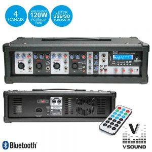 Amplificador Áudio Profissional 4 Canais 120W VSOUND - (XTREME POWER 4UMB)